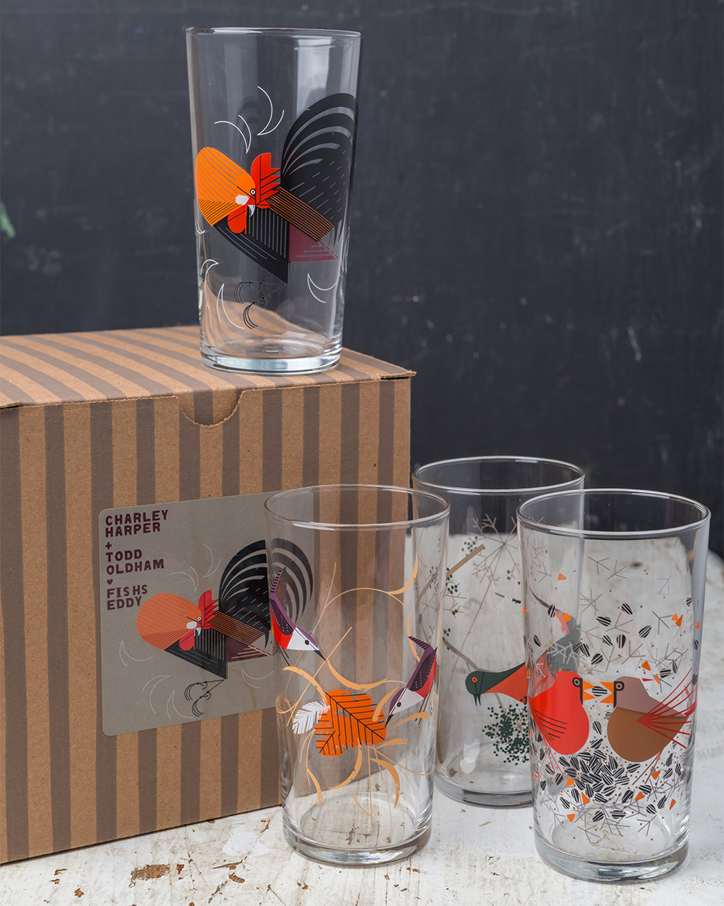 Red Birds Glasses Gift Box - Set of 4 - Fishs Eddy