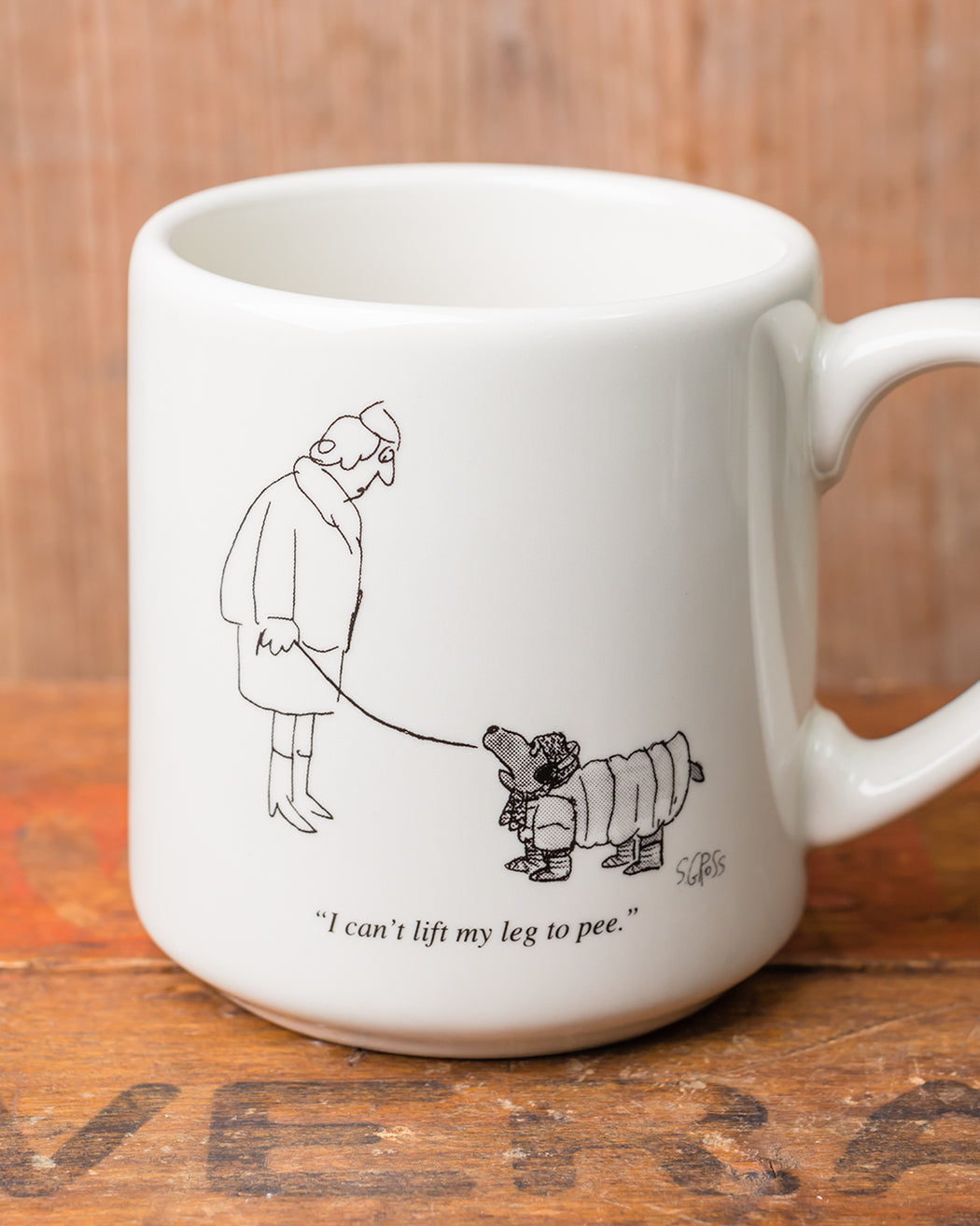 """I Can't Lift My Leg"" Cartoon Mug - Fishs Eddy"