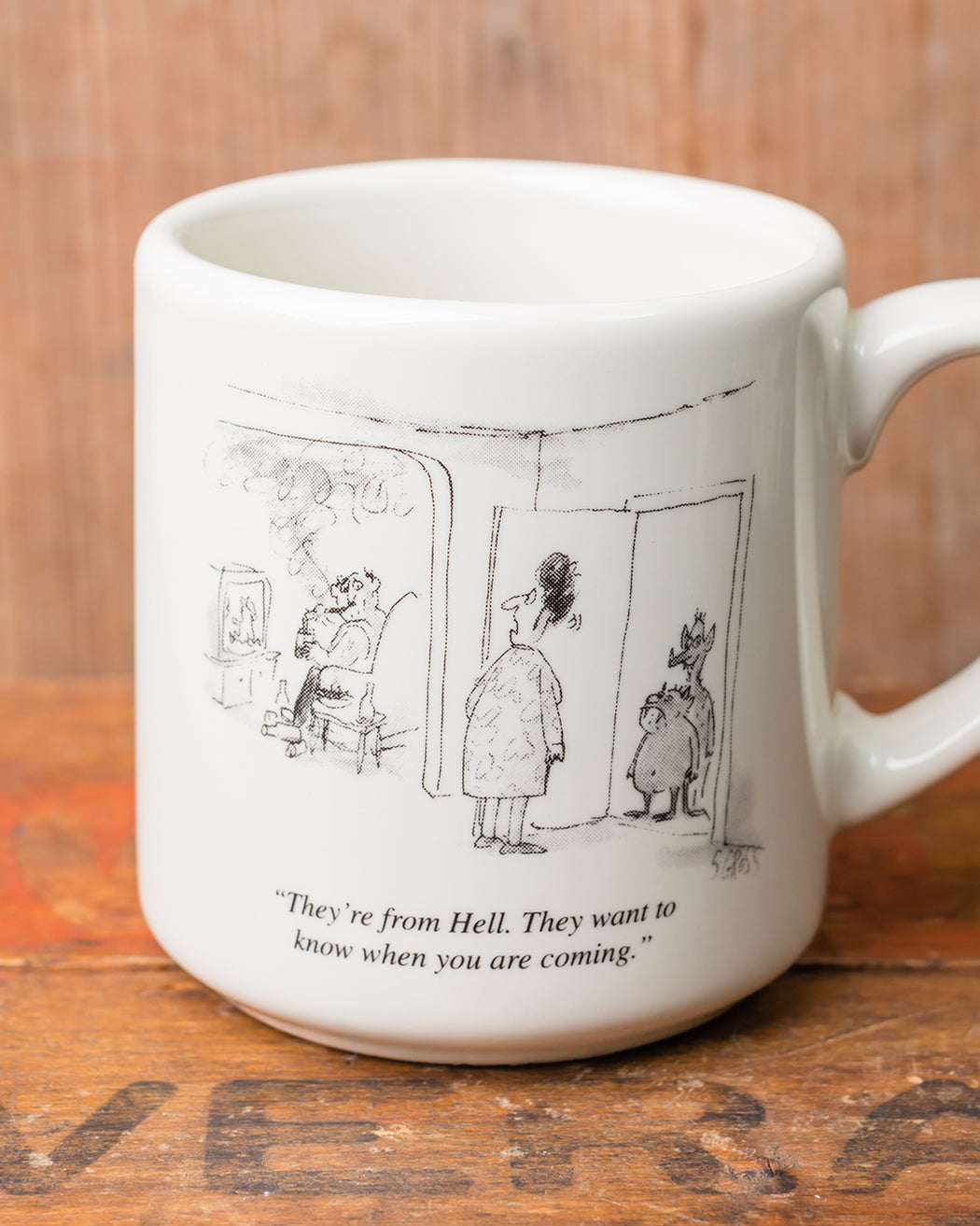 """They're from Hell"" Cartoon Mug - Fishs Eddy"