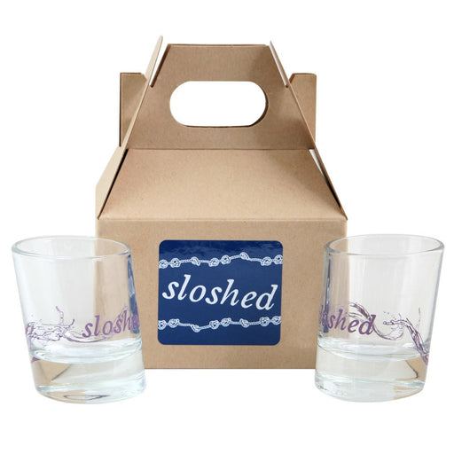 """Sloshed"" Shot Glasses Gift Box - Set of 2"