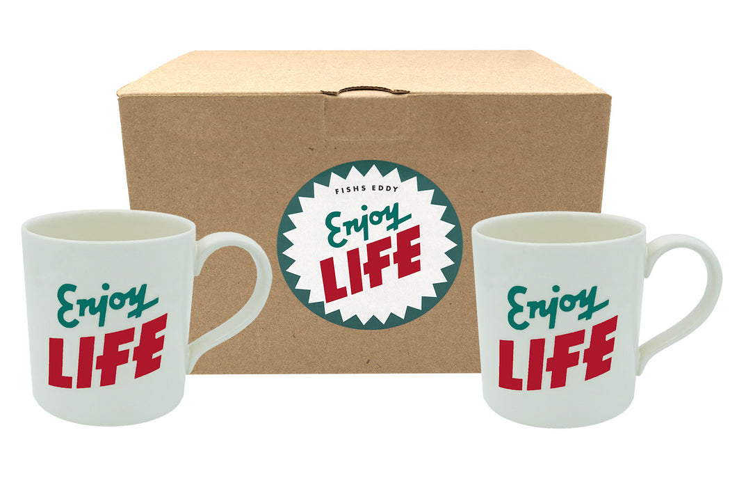 """Enjoy Life"" Mugs Gift Box - Set of 2 - Fishs Eddy"