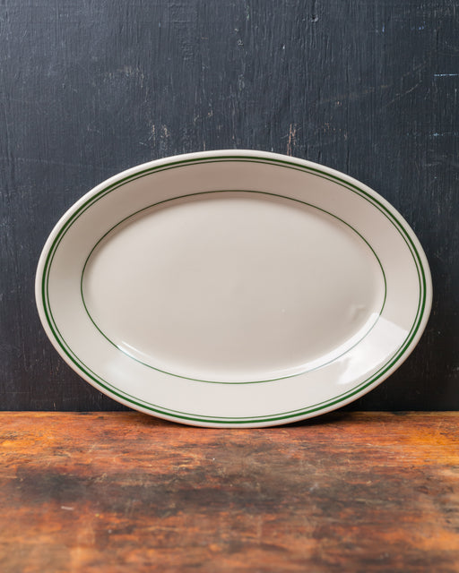 Green Band Oval Platter