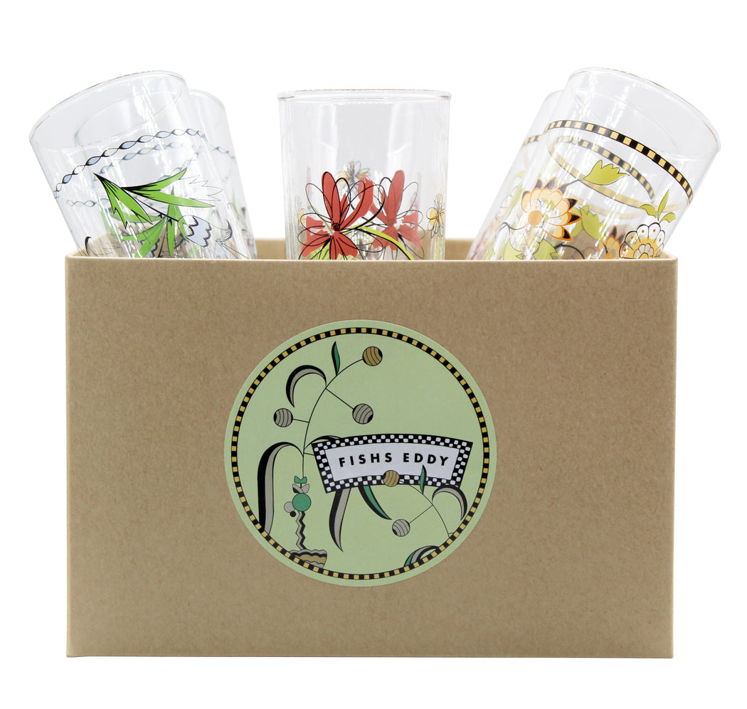 Floral Italian Wine Glasses Gift Box - Set of 6 - Fishs Eddy