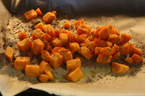 Roasted sweet potatoes image for Gym Devotion recipe blog