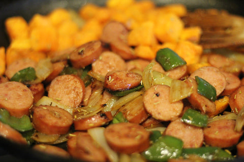 Turkey Sausage with Bell Pepper, Onion, and Roasted Sweet Potatoes feature recipe image from Gym Devotion blog