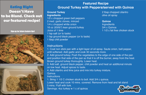 Gym Devotion motivation quote-featured recipe-ground turkey with peppers served on quinoa