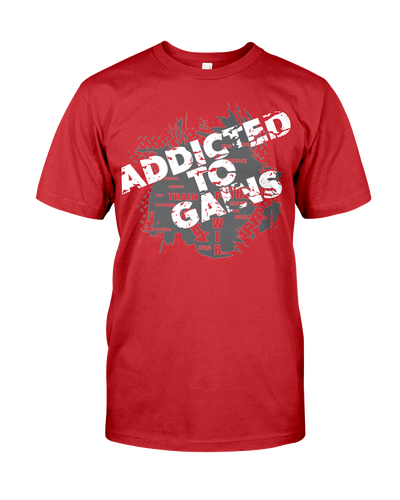 Men's shirtAddicted to gains men's workout shirt - Gym Devotion