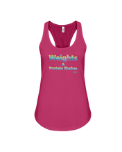 Weights and protein shakes woman's fitness tank - Gym Devotion