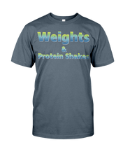 Men's shirtsWeights and protein shakes men's fitness shirt - Gym Devotion