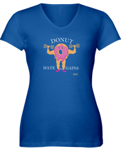 Donut hate the gains woman's workout shirt - Gym Devotion