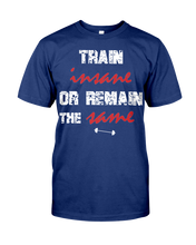 Train insane or remain the same men's workout shirt - Gym Devotion