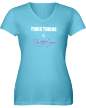 Thick thighs and pretty eyes woman's fitness shirt - Gym Devotion