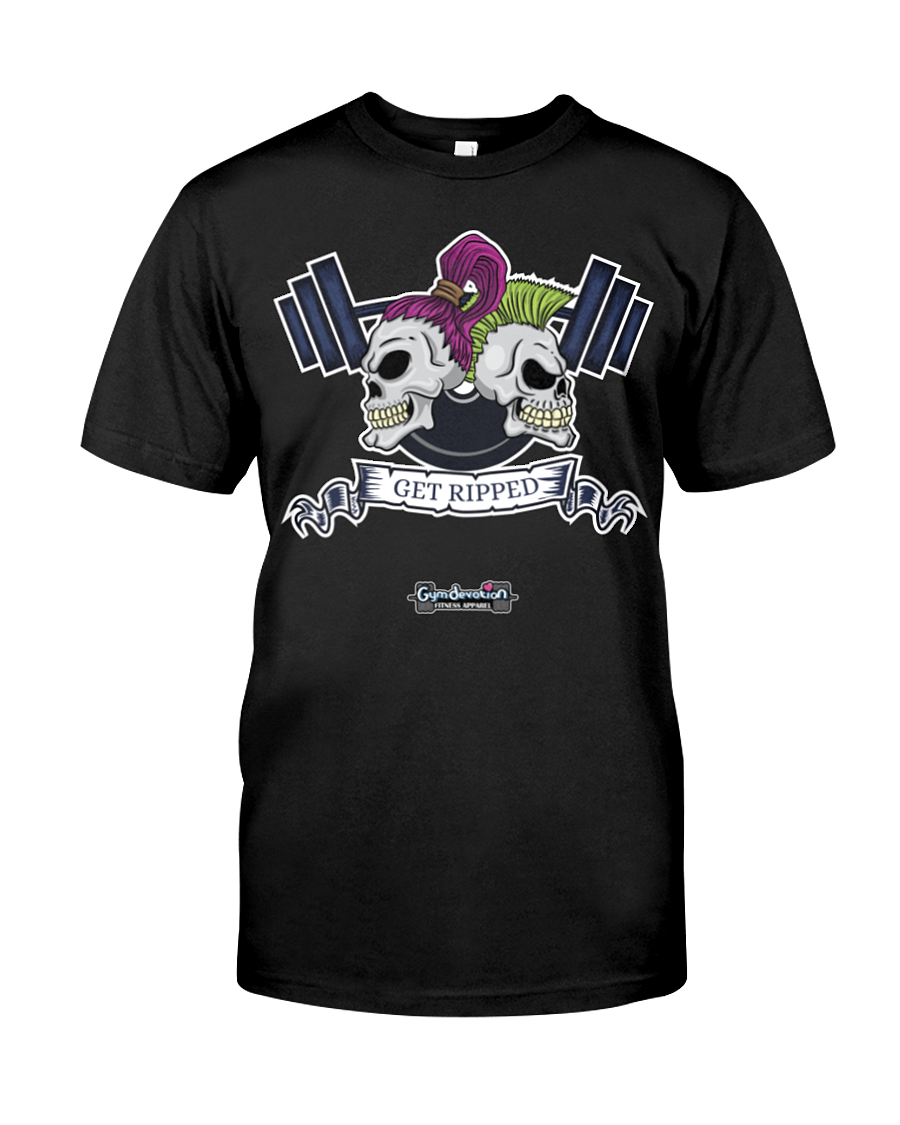 Get ripped skull and barbell fitness tee shirt - Gym Devotion