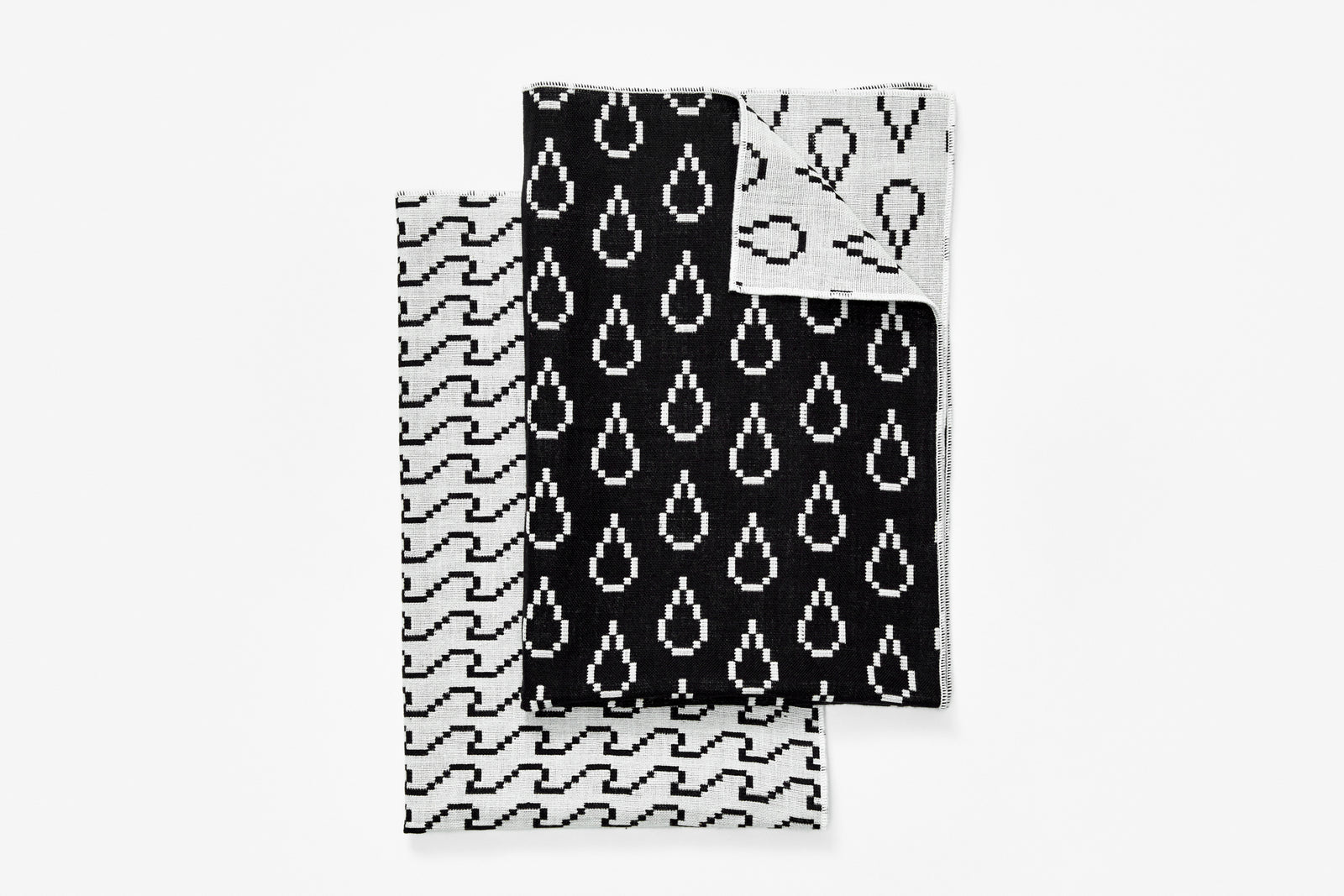 Bitmap Textiles - Tea Towels Black/White (Waves and Drops)