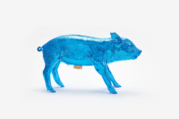 Reality Bank in the Form of a Pig - Electric Blue Chrome