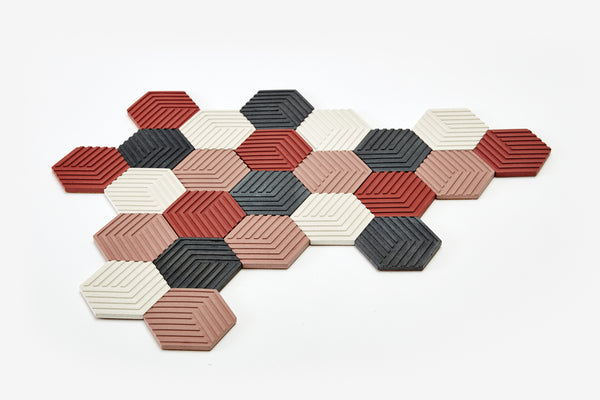 Table Tiles - Concrete - Brick Red