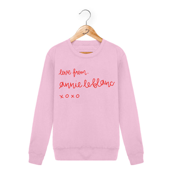 LOVE FROM ANNIE PINK CREWNECK SWEATSHIRT