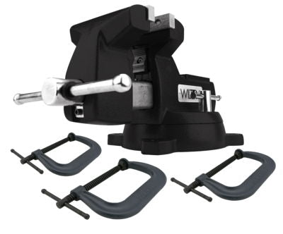 Holding Strong Kit, Black 746 Mechanics Vise and 3-pc 400 Series C-Clamp Set