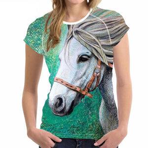 Women's T-Shirt - 'Grey and Green' Horse