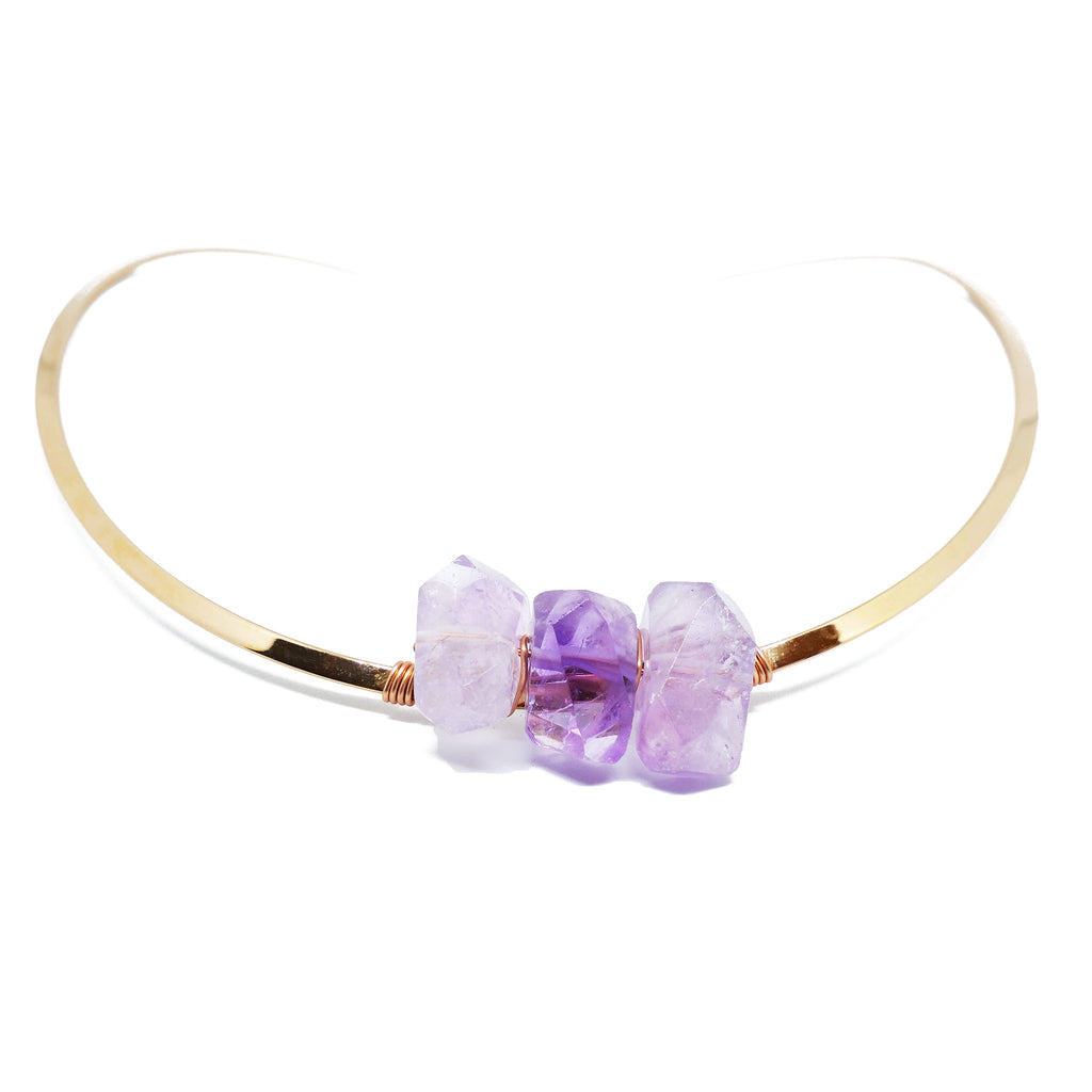Rose gold choker with 3 irregular amethysts