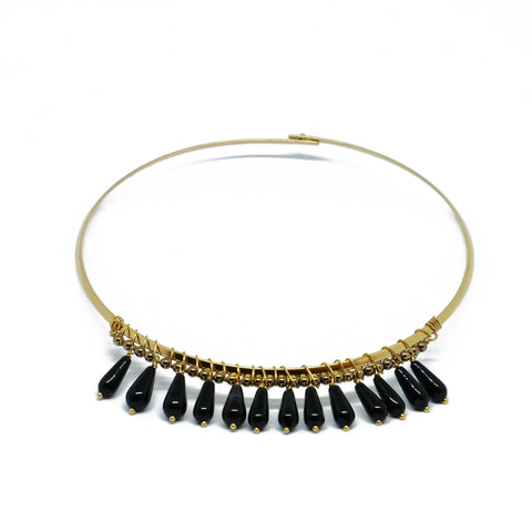 Golden choker with hematite and black agate drops