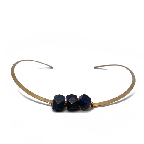 Rose gold choker with irregular lapislazuli stones