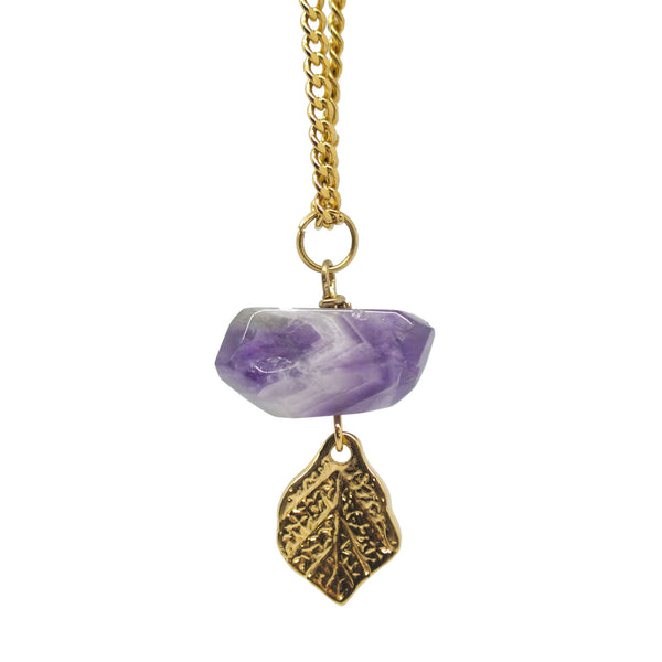 Necklace with purple hematite and leaf