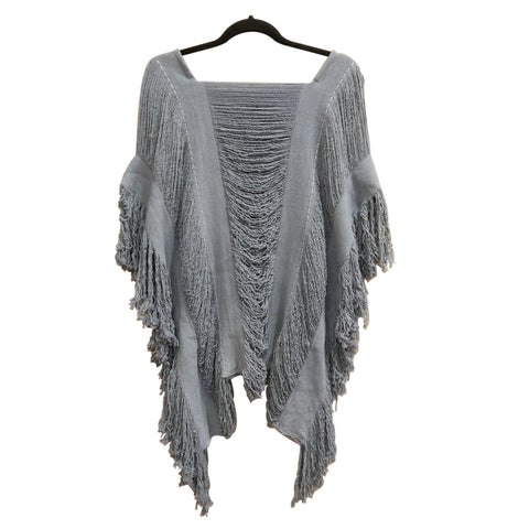 sustainable fashion, gray blue, poncho, handmade