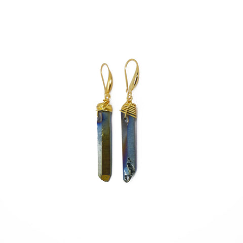 Earrings with irregular multicolor quartz