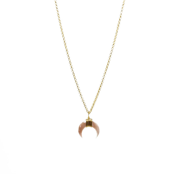 horn necklace, moon necklace, nacre, boho jewlery