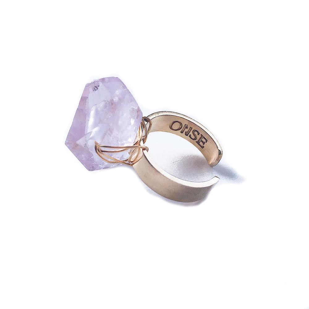 Matte ring with Pink Quartz