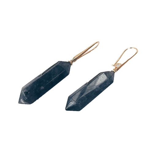 Earrings with smoked rutilated quartz