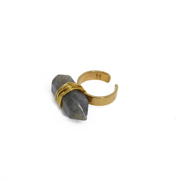 Gold plated ring with smoked rutilated quartz