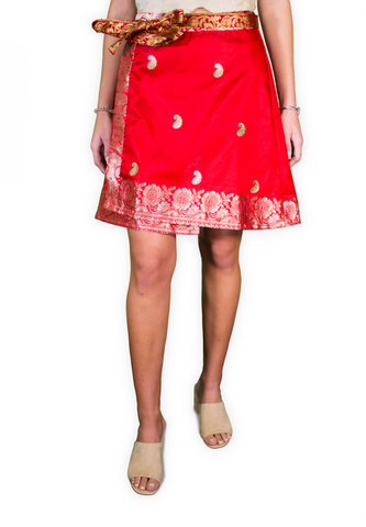 Silk Embroidered Wrap Skirt