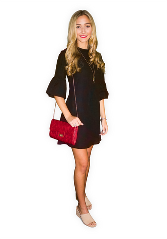 Flare Sleeved Dress-Caviar Black