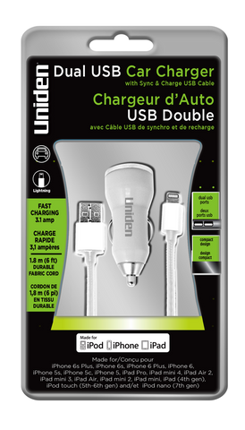 Uniden 3.1 Amp. Dual USB Car Charger With Apple Lightning Cable.