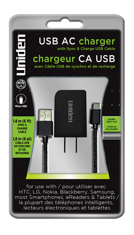 Uniden 1 Amp. USB AC Charger With Micro USB Cable.