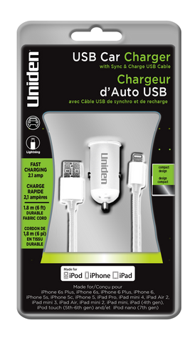 Uniden 2.1 Amp. USB Car Charger With 6' Lightning Cable