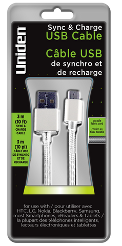 Uniden 10ft. Micro USB Sync & Charge Cable