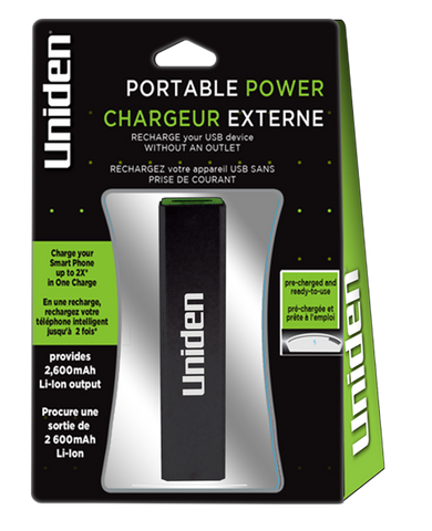 Uniden 2,600 mAh. Portable Power Battery