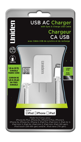 Uniden AC Charger With Apple Lightning 6ft. Fabric Sync & Charge Cable