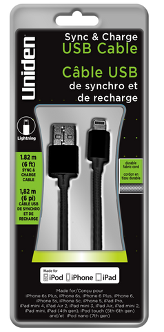 Uniden Apple Lightning 6ft. Fabric Sync & Charge Cable