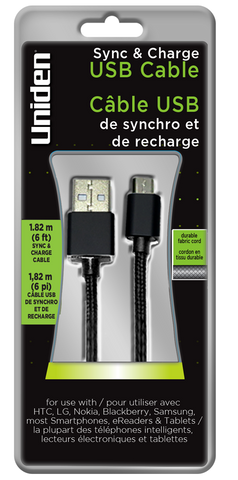 Uniden Micro USB 6ft. Fabric Sync & Charge Cable