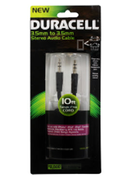 (6 Pack) Duracell  10FT 3.5mm to 3.5mm Stereo Audio Cable - Black