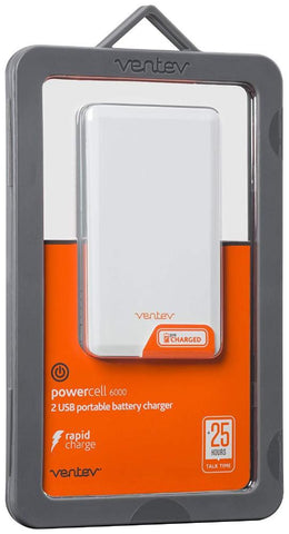 Ventev Powercell 6000mAh 2 UBS Port Portable Battery