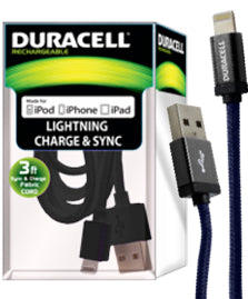 Duracell 3 ft. mfi lightning sync & charge fabric cord with metallic head