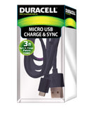 Duracell 3 ft. micro usb sync & charge fabric cord with metallic head