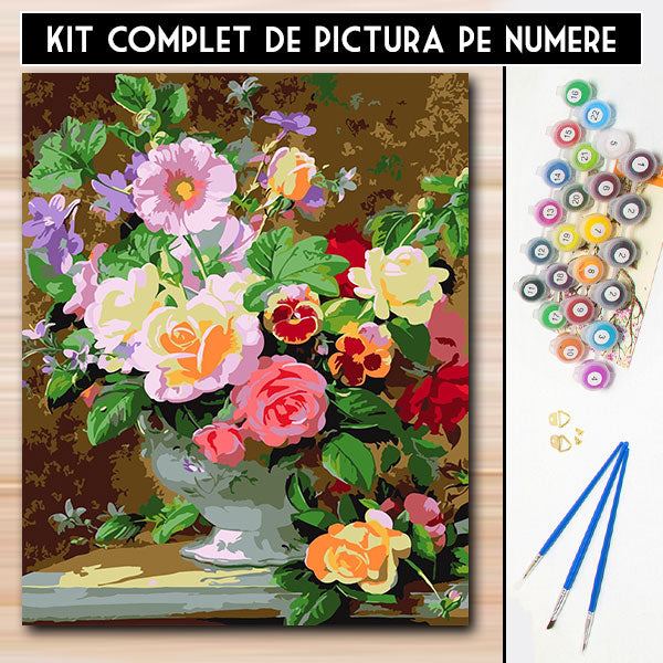 Kit Pictura Pe Numere - Spectacol floral