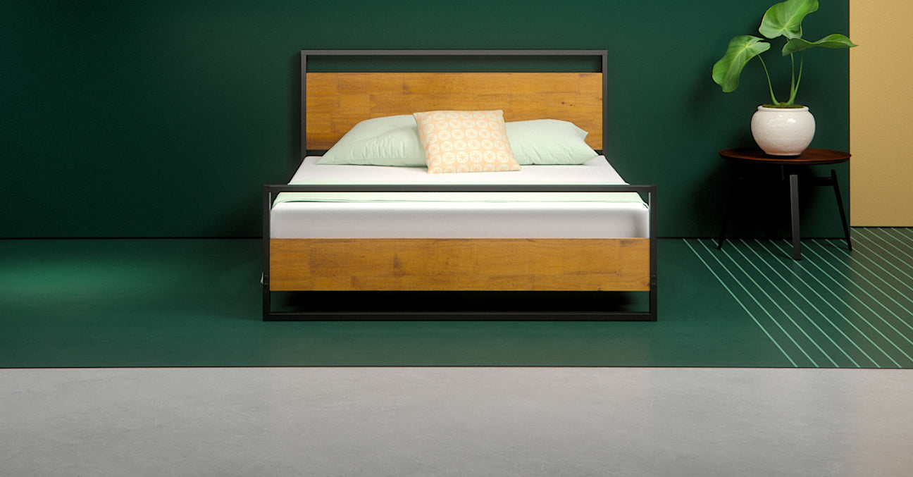Suzanne Low Profile Platform Bed Frame With Footboard Zinus