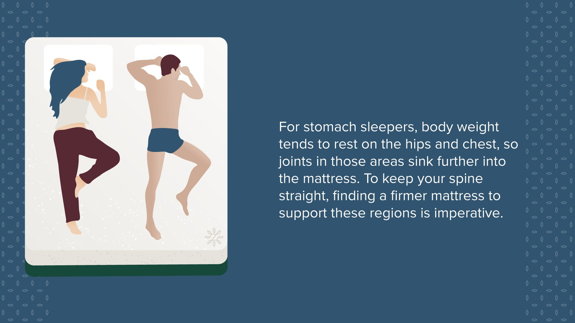 For stomach sleepers firmer mattress to support these regions is imperative